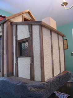how to make and apply your own dollhouse stuc - Fairy Lights Terrace Stucco Exterior, Stucco Walls, Wall Exterior, Plaster Walls, Modern Dollhouse, Diy Dollhouse, Dollhouse Miniatures, Miniature Rooms, Miniature Houses