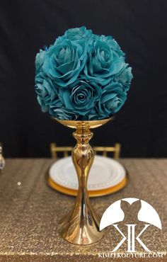TEAL Flower Ball made of PREMIUM Real Touch Silk Roses. PICK ROSE COLOR! 8 TEAL Pomander is pictured. Gold Stand sold separately.  These beautiful rose balls have a real feel and look to them. Why spend thousands on real roses that are thrown away after your wedding or event? Display these as your Teal Wedding Centerpieces, Birthday Centerpieces, Mickey Centerpiece, Wedding Ceremony Ideas, Kissing Ball, Silk Roses, Blush Roses, Cream Roses, Teal Flowers