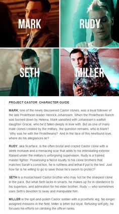 Orphan Black.  Project Castor Character Guide