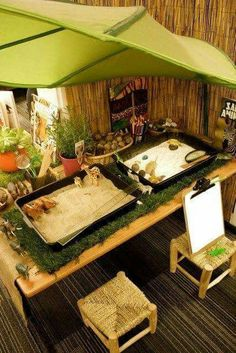 Reggio inspried : used all natural materials ( sand, the wooden chair, plants etc. ). assist in cognitive development, explosion , discovery etc. the use of green makes it more natural. the chairs are low enough for children. overall, this setting is very inviting and calming .