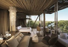 situated in the Kruger National Park, Singita Lebombo is a luxury design safari lodge. Singita Lebombo Lodge in South Africa offers stylish modern suites. Cabana, Parc National Kruger, African Interior Design, Estilo Colonial, Game Lodge, Game Reserve, Suites, Home Interior, Luxury Interior