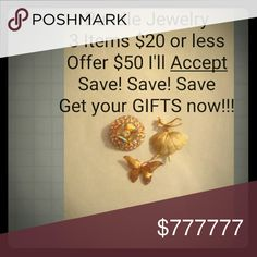 Bundle Savings on Jewelry Brooch Bracelet necklace Any and all Jewelry $20 or under 3 for $50. Stock up on gifts now before they disappear. Jewelry