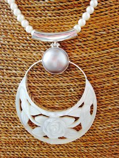 Mother of Pearl Carved Pendant set in Bali Silver by balijewels, $95.00