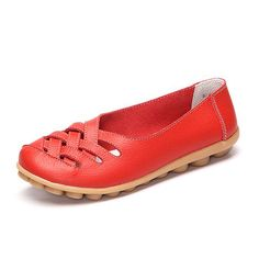 Hollow Out Leather Breathable Casual Slip On Moccasin For Women Ballet Flat Shoes