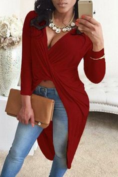 Sexy Solid Color Plunging Neck Twist Pleated Asymmetric Blouse For Women