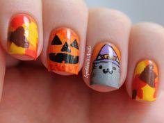 Halloween / Fall Pusheen Nails