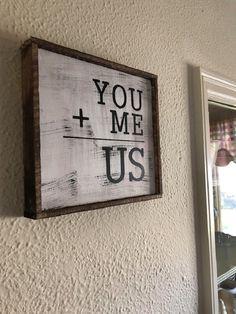 Couples sign   wedding gift   wedding sign   you me us   farmhouse decor   rustic decor