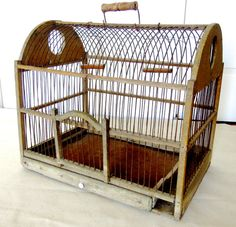 Antique Wood and Wire Bird Cage by AVintageFix on Etsy, $165.00