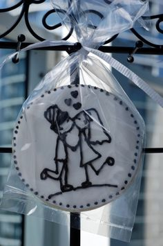 Bride and groom stick figure wedding cookies
