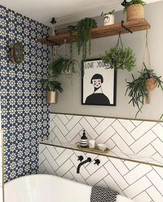 45 Ideas Bathroom Decoration Blue Interior Design For 2019 Trendy Bathroom, Bathroom Interior Decorating, Bathroom Shower Tile, Bathroom Tile Diy, Bathtub Design, Bathroom Plants, Bathtub Decor, Bathroom Decor, Boho Bathroom