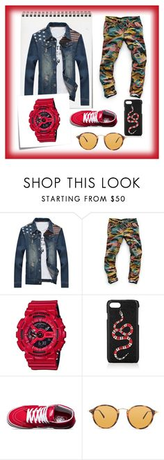 """Wild red."" by ivan-fedorov on Polyvore featuring G-Star Raw, G-Shock, Gucci, Vans, Ray-Ban, Post-It, men's fashion и menswear"