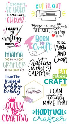 free cut files to make crafty themed projects. Make projects and gifts for craft lovers with these files. Mug Crafts, Crafts To Do, Svg Files For Scan And Cut, Sticky Vinyl, Cricut Svg Files Free, Free Vector Files, Cricut Tutorials, Cricut Ideas, Cricut Craft Room