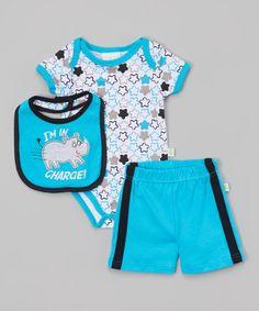 Duck Duck Goose Blue Rhino Shorts Set   zulily