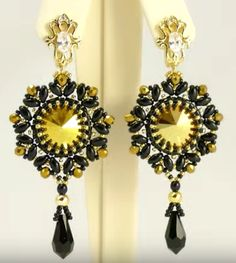 Free Beading Tutorial: How to make earrings using rivoli and superduo -featured in recent Sova-Enterprises.com Newsletter!