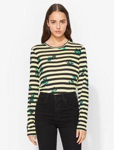 Floral Stripe Long Sleeve T-Shirt Floral Stripe, Proenza Schouler, Wardrobe Staples, Tie Dye, Floral Prints, Crew Neck, Stripes, Long Sleeve, Gift Guide