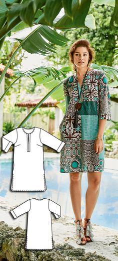 Tunic Dress Burda Apr 2016 #108A Pattern $5.99: http://www.burdastyle.com/pattern_store/patterns/tunic-dress-042016