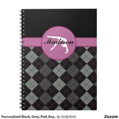 """Personalized Black, Grey, Pink Argyle Gymnastics Spiral Note Books - Classy gymnastics notebook with a beautiful black, grey, and pink argyle backdrop. It has a gymnast silhouette inside of a pink circle. Add your own name before ordering! Additionally, use the """"customize it"""" button for more options, including a different font!  ©gollygirls.com"""