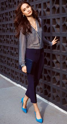 Pair with a printed blouse and bright heels for dinner with friends - Office Outfits Business Dresses, Business Outfits, Office Outfits, Dressy Casual Outfits, Simple Outfits, Bright Heels, Work Fashion, Fashion Outfits, Dinner Outfits
