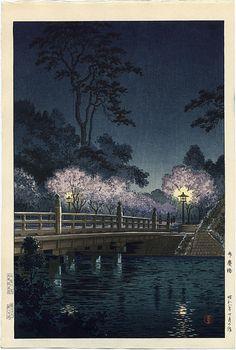 "Koitsu, Tsuchiya (1870-1949), ""Night View of Cherry Blossoms at Benkei Bridge, Tokyo"""