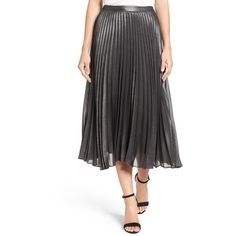 Women's Halogen Pleated Lurex Midi Skirt ($69) ❤ liked on Polyvore featuring skirts, petite, knee length pleated skirt, shiny skirt, halogen skirt, mid calf skirts and wet look skirt