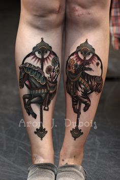 Carousel animals tattoo -- by Aron J. Dubois of Scapegoat Tattoo, Portland, OR