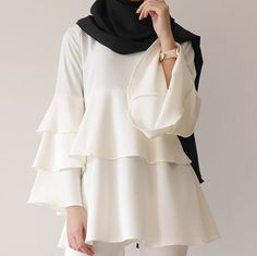 No automatic alt text available. Muslim Fashion, Modest Fashion, Fashion Outfits, Hijab Fashionista, Frocks For Girls, Mode Hijab, Modest Outfits, Maternity Fashion, Blouse Designs