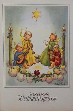 URSULA ORTLIEB sign - 4 ENGEL singen auf Wolke mit Kerzen - c1950 | eBay