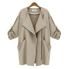 Women's Medium Style Three Quarter Sleeve Casual Outerwear - EUR € 23.16