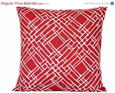 CHRISTMAS IN JULY Red Lattice Pillow Cover by PookieandJack, $15.00