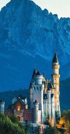 Neuschwanstein Castle, Above the village of Hohenschwangau, Bavaria, Germany... www.castlesandmanorhouses.com ... euschwanstein Castle (Schloss Neuschwanstein), is a nineteenth-century Romanesque Revival palace. It was commissioned by King Ludwig II of Bavaria as a retreat and as an homage to Richard Wagner. The palace was intended as a personal refuge but it was opened to the paying public immediately after his suspicious death in 1886.