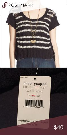 NWT free people stripe rib knit sweater tee sz XS Brand new with tags free people stripe rib knit sweater tee size XS. Black combo. Super cute lose fitting. Sleeves are short with open slits. Bought from lord and Taylor for $65. Never worn. In perfect condition. Free People Sweaters Crew & Scoop Necks