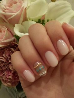 Love the nude colour but not the ring finger. Nails are a lovely shape!