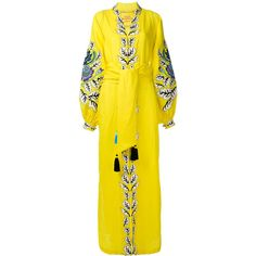 Yuliya Magdych oversize embroidered kaftan ($992) ❤ liked on Polyvore featuring tops, tunics, dresses, kaftan tops, linen tunic, embroidered tunic, oversized tunic and yellow top
