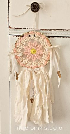 vintage doily dreamcatcher..one of the creative kits in the October Little Pink Box. (one extra in the shop)