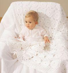 Precious Pearls Lace Baby Blanket | AllFreeCrochetAfghanPatterns.com