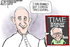 Jeff Darcy - The Cleveland Plain Dealer - Pope Francis and Bernie Sanders - 9/24/15