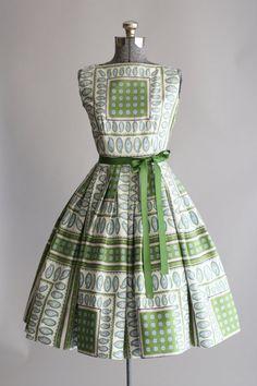1950's Green Print Dress