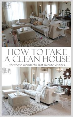How to fake a clean house in 20 minutes. Over 25 tips, some that you probably wouldn't think of. (I prefer to just have a clean house but will have to check this out in case of emergency company) Diy Cleaning Products, Cleaning Hacks, Home Cleaning Tips, Iron Cleaning, Cleaning Solutions, Spring Cleaning, Organizing Ideas, Home Organization, Room Ideias