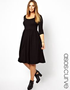 ASOS Curve | ASOS CURVE Midi Dress With Scoop Neck In Nepi at ASOS