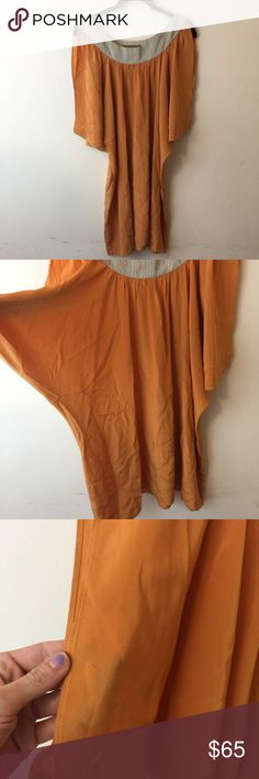 Karen Zambos Vintage Sunset Orange Silk Dress Karen Zambos Dress with some stains as photographed should be dry cleaned and looks great belted. Karen Zambos Dresses