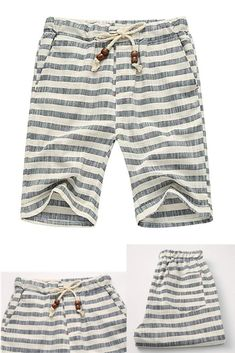 95f28c09c0 sandbank Men's Summer Casual Linen Drawstring Striped Beach Shorts|mens  shorts|mens white linen
