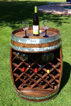 Wine Barrel Wine Rack on Etsy. Lots of cool stuff from barrels!