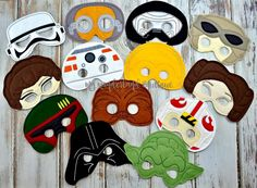 Star Wars Force awakens mask, birthday party, party favors , dress up fun , photo booth props, Maz, Rey, BB8 by MyWonderlandBoutique on Etsy
