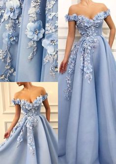 Charming Blue Tulle Flower Long Prom Dresses, Sexy Blue Evening Party Dress By Lass on Luulla Prom Dress Lace, Simple Evening Dresses, Plus Size Prom Dress, Cute Prom Dresses, Beautiful Prom Dresses, Ball Dresses, Elegant Dresses, Pretty Dresses, Homecoming Dresses, Sexy Dresses, Ball Gowns, Fashion Dresses