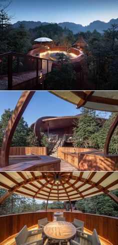 The architects designed a UFO-themed treehouse that is apparently popular with children. The design emphasizes the use of parent-child travel, safety, comfort, and children's fun of the room. Treehouses, Wuhan, Architect Design, Travel With Kids, Ufo, Apocalypse, Mother Nature, Science Fiction, Architects