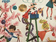Vintage Christmas Gift Wrapping Paper - Mid Century Kids Trimming the Christmas Tree - Pink Christmas - 1 Unused Full Sheet Gift Wrap Vintage Christmas Wrapping Paper, Vintage Christmas Images, Christmas Gift Wrapping, Gift Wrapping Paper, Retro Christmas, Christmas Love, Wrapping Papers, Christmas Tree Scent, Christmas Gifts