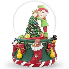 BestPysanky 6 Inch Elf Christmas Tree Snow Globe Musical Box ** Be sure to check out this awesome product.