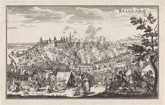 Justus van den Nijpoort   Beleg van Belgrado in 1688, Justus van den Nijpoort, 1694   De belegering van Belgrado, dat in handen was van de Ottomanen, door het leger van Maximiliaan II Emanuel, keurvorst van Beieren in 1688. De stad Belgrado wordt met kanonnen bestookt. Op de voorgrond links het kamp van de soldaten en rechts ruiters, die op de stad afrijden. Linksboven genummerd: fol. 392.