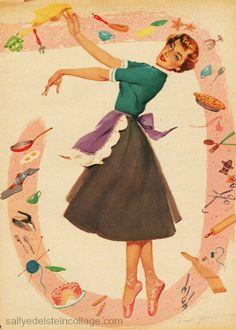 Vintage dona de casa dos anos 1950 Ilustração