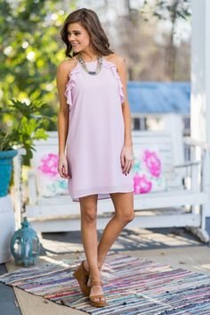 """""""Fun To Flutter Dress, Lilac""""This fluttering beauty is just so fun and fancy! We are all about that ruffled detailing! #newarrivals #shopthemint"""